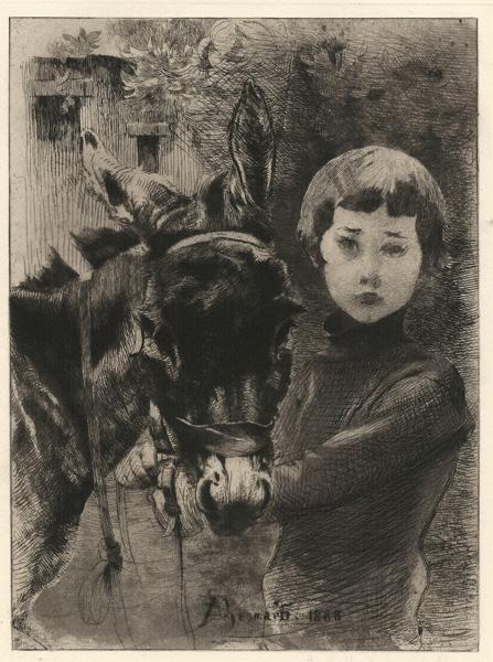 Albert BESNARD (Francia, 1849 – 1934) – ROBERT BESNARD ET SON ANE (1888)