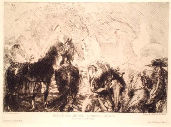 Albert BESNARD (Francia, 1849 – 1934) – MARCHÈ DE CHEVAUX (ENVIRONS D'ALGER)