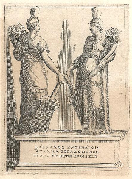 Giulio BONASONE (Bologna, circa 1498 – 1580) – DUE VEDUTE DI UNA STATUA ALLEGORICA