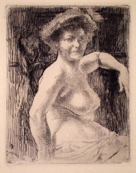 Albert BESNARD (Francia, 1849 – 1934) – FEMME BLONDE A SA TOILETTE (1909)