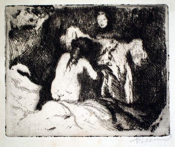 Albert BESNARD (Francia, 1849 – 1934) – LE LEVER (1913)
