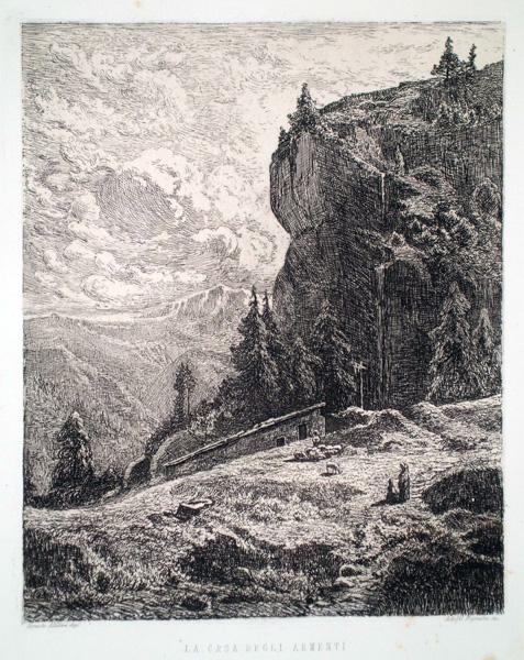 Adolfo BIGNAMI (Bologna, 1836 – 1906) – LA CASA DEGLI ARMENTI