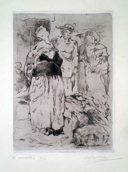 Marcello BOGLIONE (Pescara, 1891 – 1957) – AL MERCATO, NIZZA (1926)