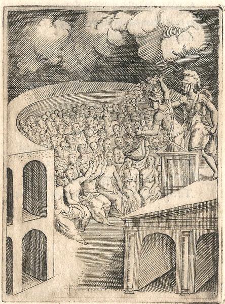 Giulio BONASONE (Bologna, circa 1498 – 1580) – IL GUADAGNO E L'ONORE IN UN TEATRO