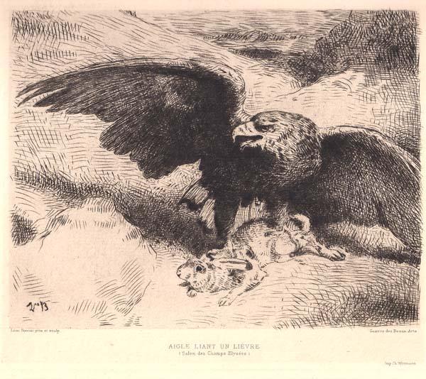 Léon BONNAT (Francia, 1834 – 1923) – AIGLE LIANT UNE LIEVRE