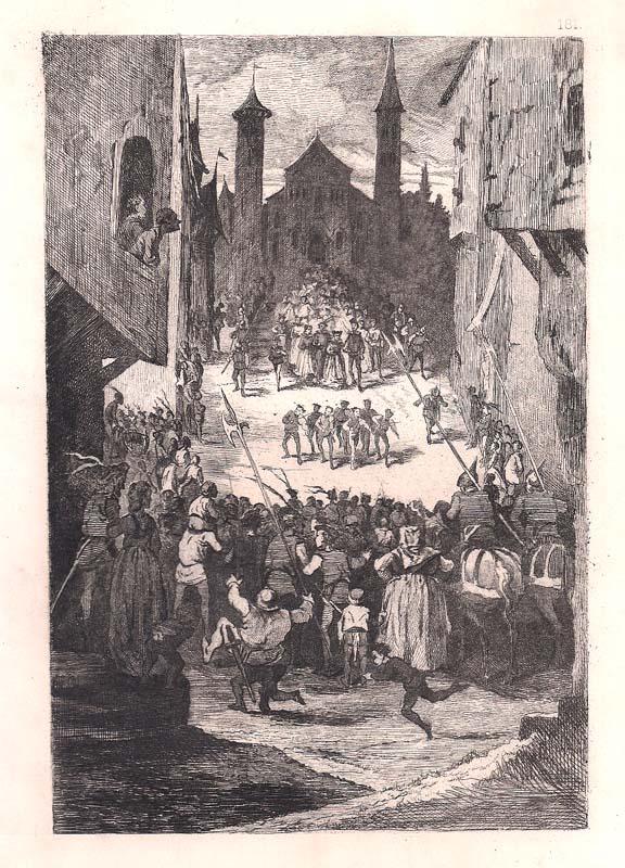 G. de BORET (attivo in Francia nel XIX sec.) – UN MARIAGE AU MOYEN AGE