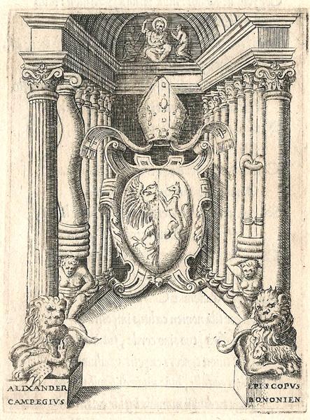 Giulio BONASONE (Bologna, circa 1498 – 1580) – STEMMA DI ALESSANDRO CAMPEGGIO, VESCOVO DI BOLOGNA