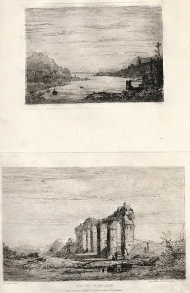 Giberto BORROMEO (Milano, 1815 – 1895) – ENVIRONS DE BERGAME (PAESAGGIO LACUSTRE) e ACQUEDOTTO ROMANO