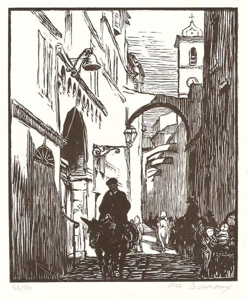 Paul Adrien BOUROUX (Francia, 1878 – 1967) – LA RUE DE L'HOTEL DE VILLE À BONIFACIO