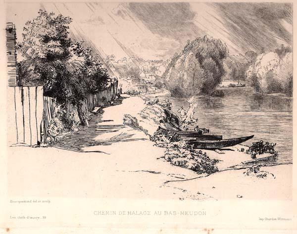 Félix BRACQUEMOND (Francia, 1833 – 1914) – CHEMIN DE HALAGE – LA SEINE AU BAS MEUDON (1868)