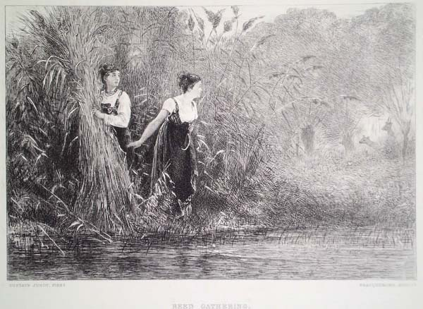 Félix BRACQUEMOND (Francia, 1833 – 1914) – REED GATHERING da Gustave Jundt