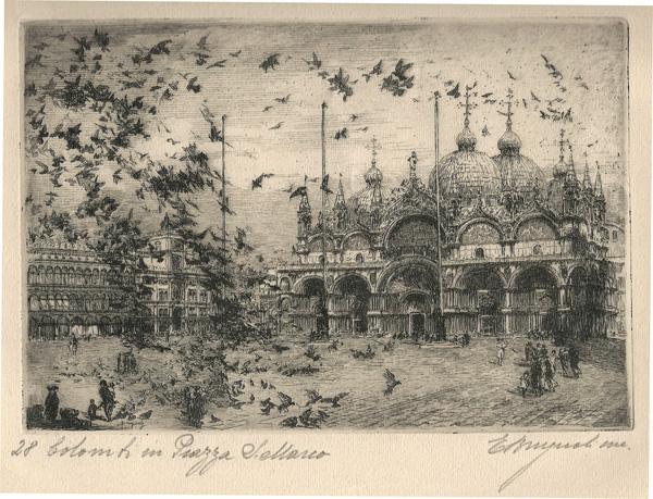Emmanuele BRUGNOLI (Bologna, 1859 – 1944) – COLOMBI IN PIAZZA SAN MARCO