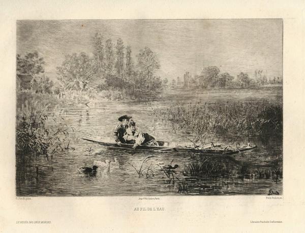 Félix BUHOT (Francia, 1847 – 1898) – AU FIL DE L'EAU da G.Jundt (1875)
