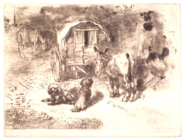 Félix BUHOT (Francia, 1847 – 1898) – LES GARDIENS DU LOGIS