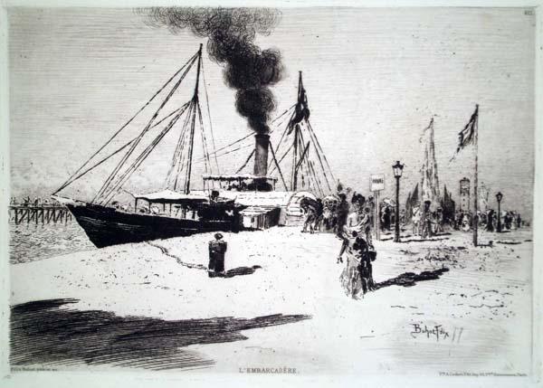 Félix BUHOT (Francia, 1847 – 1898) – L'EMBARCADERE