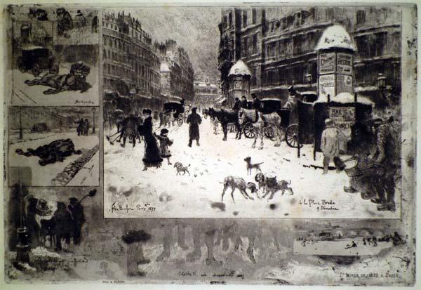 Félix BUHOT (Francia, 1847 – 1898) – L'HIVER À PARIS
