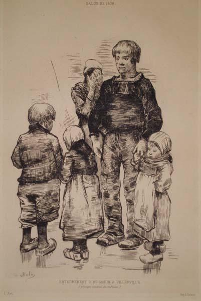 Louis Auguste BUTIN (Francia, 1837/38 – 1883) – ENTERREMENT D'UN MARIN À VILLERVILLE
