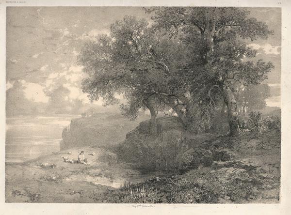 Alexandre CALAME (Svizzera, 1810 – 1864) – PAESAGGIO LACUSTRE
