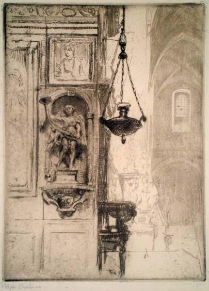 Edgar CHAHINE (Austria, 1874 – 1947) – SAN GIMIGNANO, LA COLLEGIALE